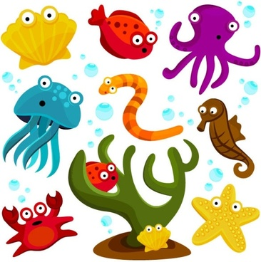 cartoon marine animals 01 vector
