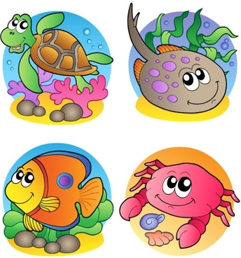 cartoon marine animals 02 vector