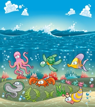 cartoon marine animals 03 vector
