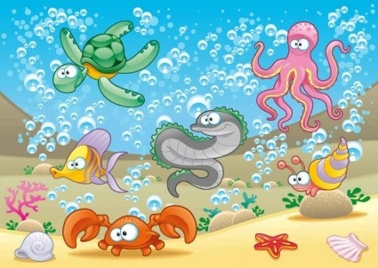 cartoon marine animals background vectors