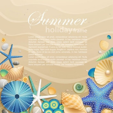 cartoon marine starfish pearl background vector