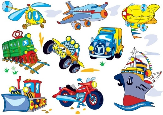 cartoon means of transport 03 vector