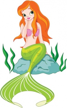 cartoon mermaid 01 vector