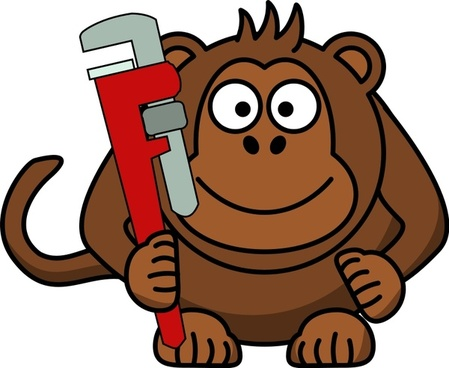 Cartoon Monkey with Wrench