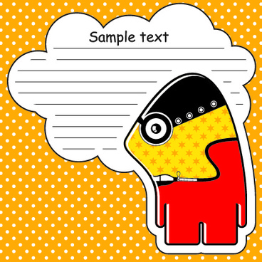 cartoon monster with message cloud vector set