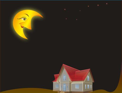 cartoon moon and house desing vector