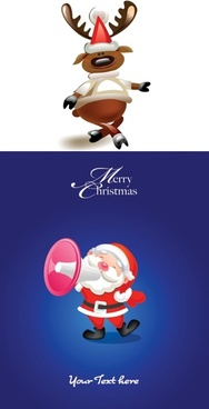 cartoon moose and santa claus vector