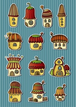 cartoon mushroom house 01 vector