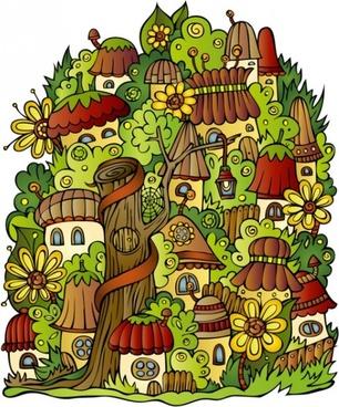 cartoon mushroom house 02 vector