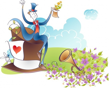 magic background performing man flowers icons cartoon design