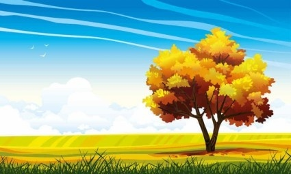 cartoon natural landscapes beautiful vector