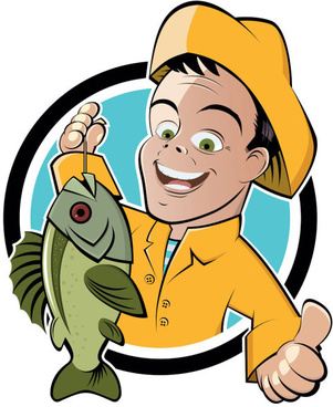 cartoon of fishing design vector set