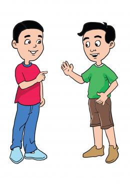 cartoon of two boys friendly talking