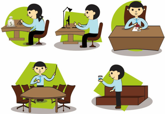 cartoon office setting free vector graphics