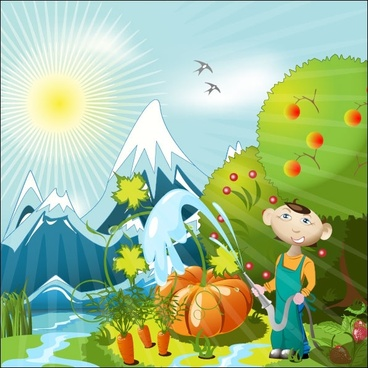 cartoon orchard 01 vector