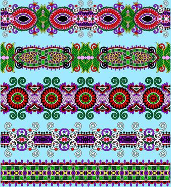 cartoon ornament floral vector seamless borders