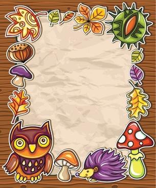 cartoon owl vector frame background