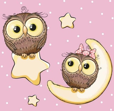 cartoon owl with stars and moon card vector