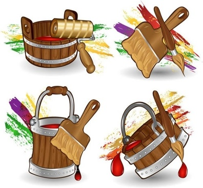 cartoon paint bucket vector