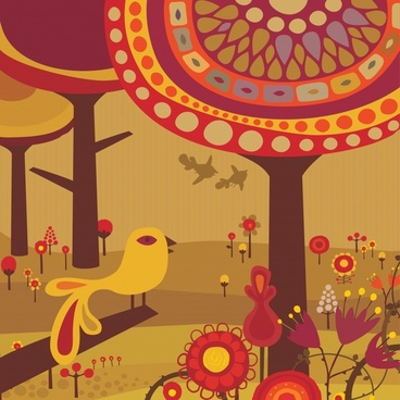 nature painting bird flower tree icon dark classical
