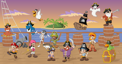 cartoon pirate characters vector set