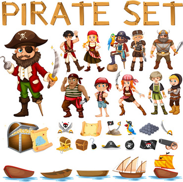cartoon pirate design vectors set