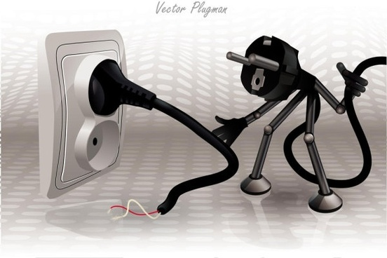 cartoon plug 01 vector