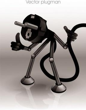 cartoon plug 04 vector