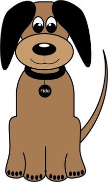 cartoon portrait vector illustration of dog fido