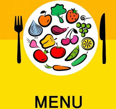 menu cover template ingredients dishware sketch colorful flat