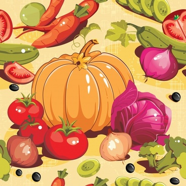vegetables pattern template colorful classical handdrawn sketch