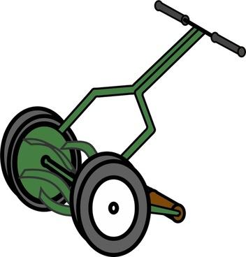 Cartoon Push Reel Lawn Mower
