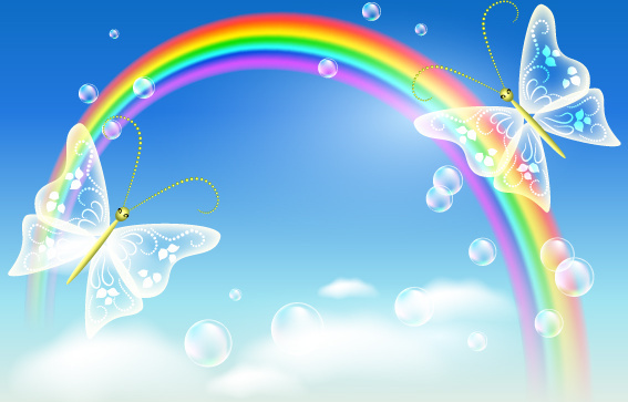 cartoon rainbow design elements vector