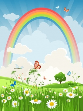 nature scenery background rainbow flowers butterflies dragonfly sketch
