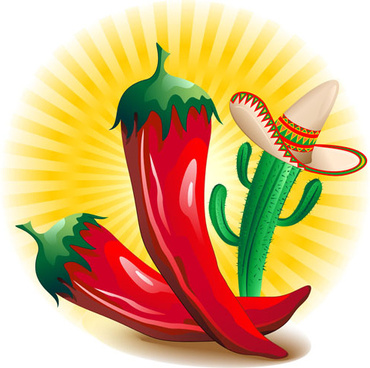 cartoon red hot pepper and cactus vector