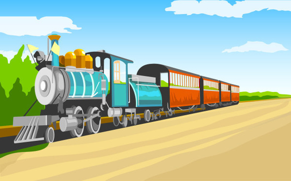 cartoon retro train vector