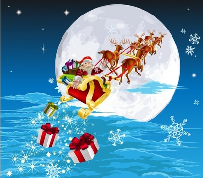cartoon santa claus gifts christmas sleigh vector