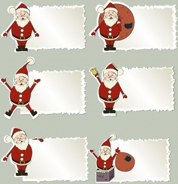 cartoon santa claus label vector