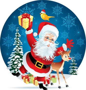 cartoon santa claus snow elk vector