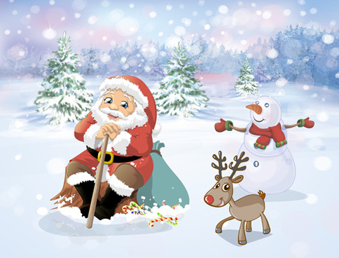 cartoon santa with christmas gift elements vector