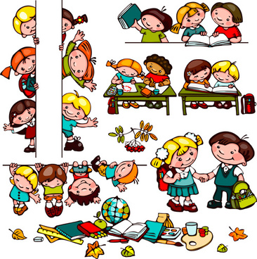 cartoon school children cute design vector