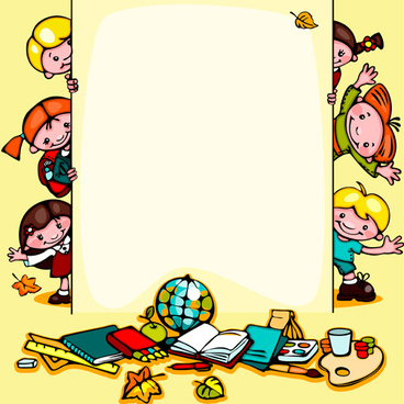 cartoon school children cute design vector