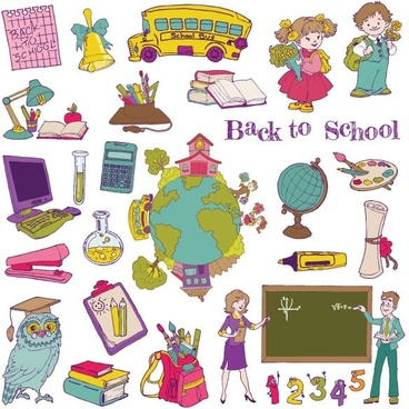 cartoon school theme graphics vector 1