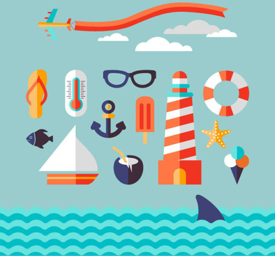 cartoon sea elements creative vector