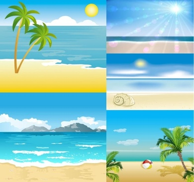 cartoon seaside landscape vector