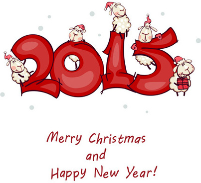 cartoon sheep15 christmas and new year vector background