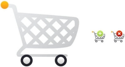 cartoon shopping cart icon psd layered