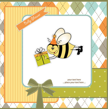 cartoon small animal elements baby card vector