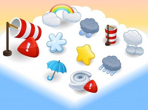 cartoon snowflake vector weather icons sun