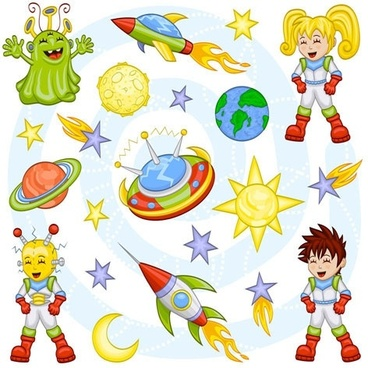 cartoon space pattern 01 vector